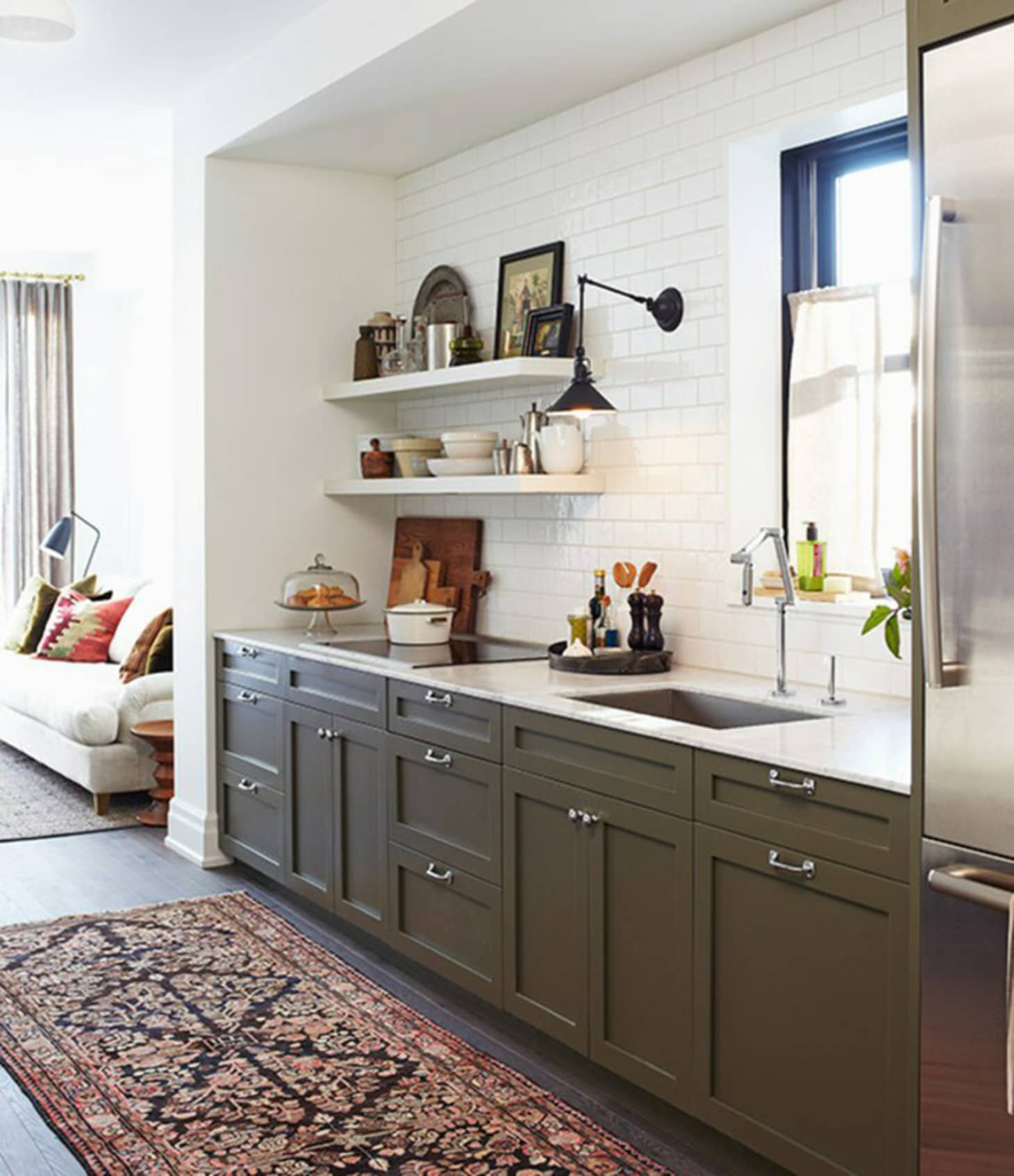 Green Painted Kitchen Galley: Green Painted Kitchen Cabinets We Love Right Now