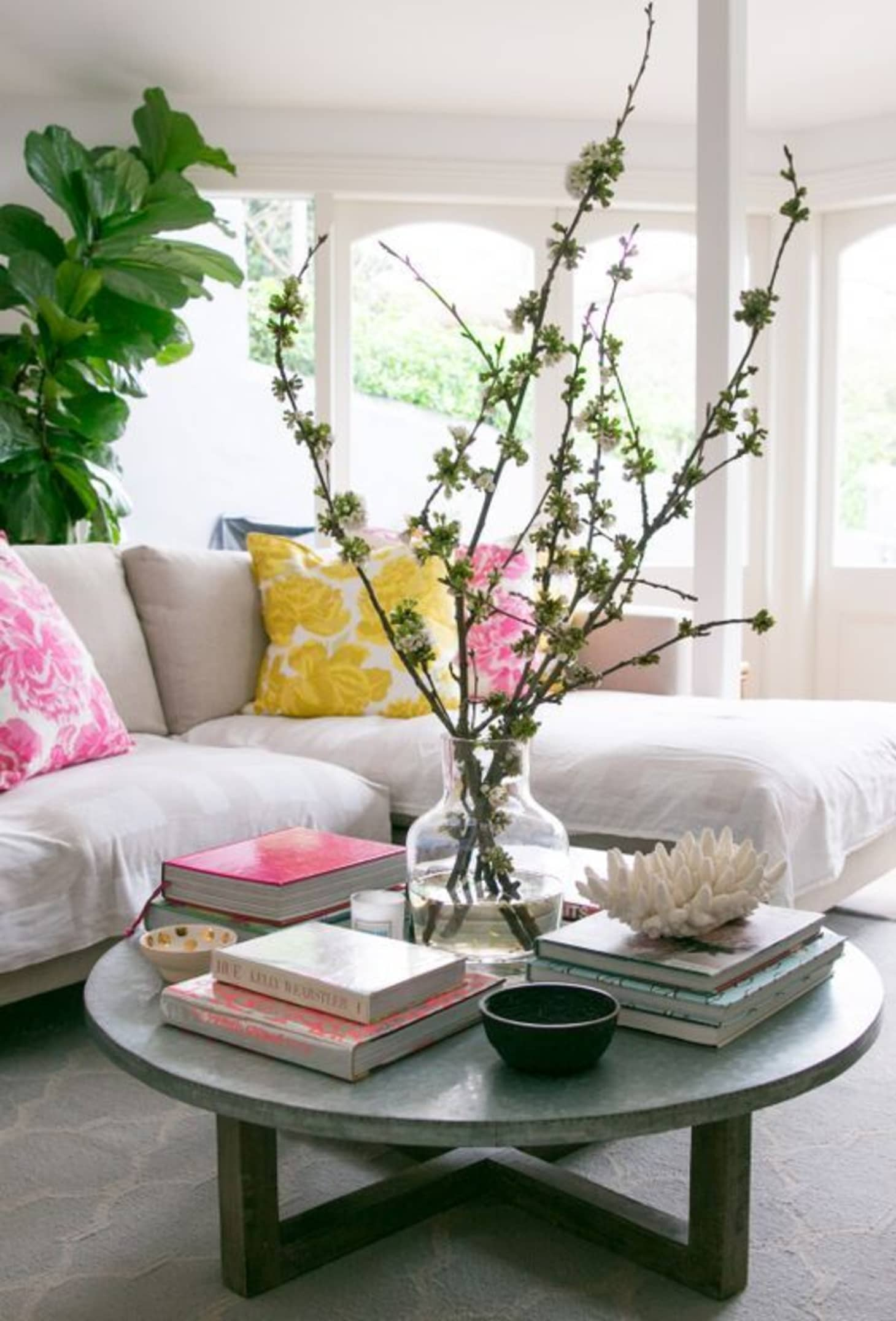 ideas for how to style a round coffee table  apartment