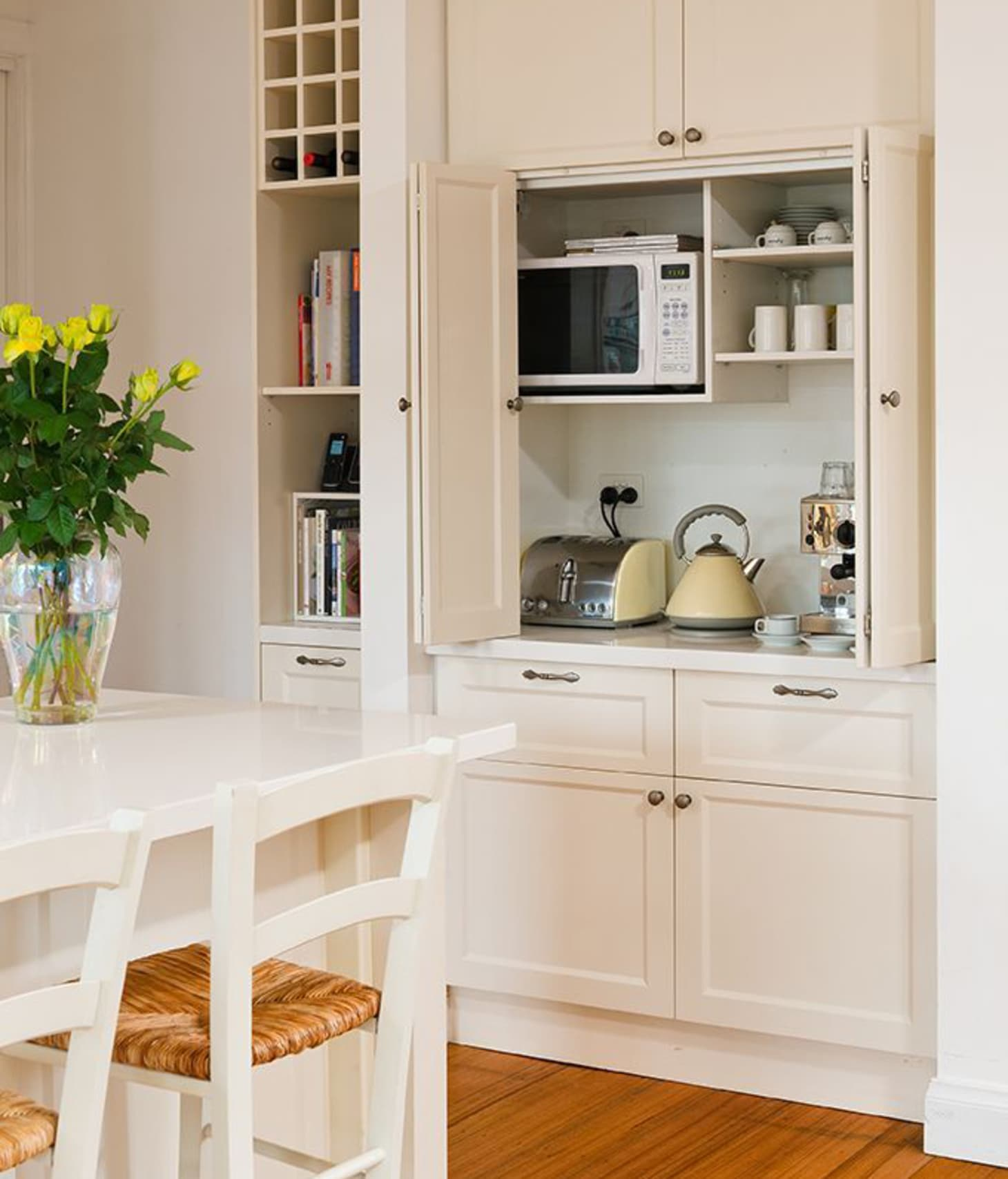 Kitchen Cabinet Ideas For Microwave: Microwaves In The Kitchen: Hidden Storage Solutions