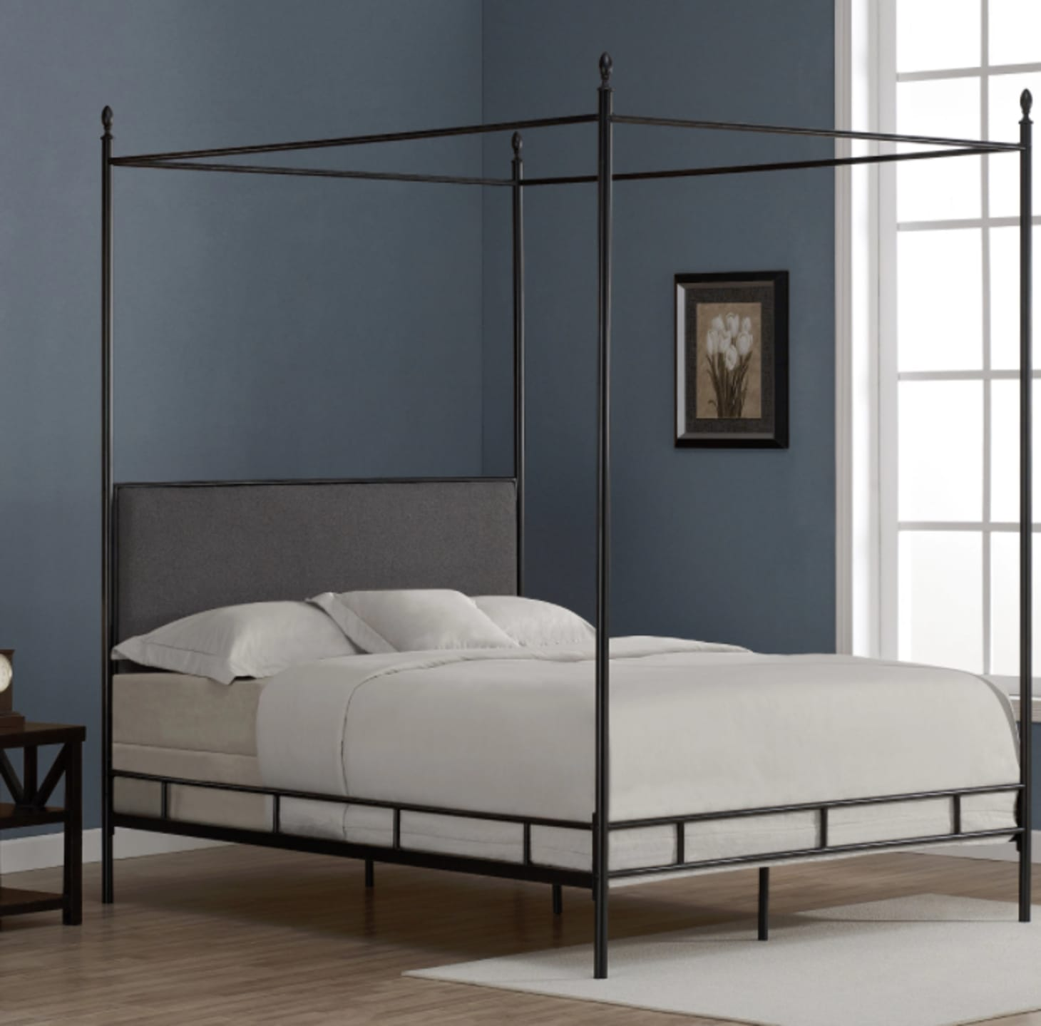 c2998df68c2e55 Lauren Grey Upholstered Queen-size Canopy Bed at Overstock