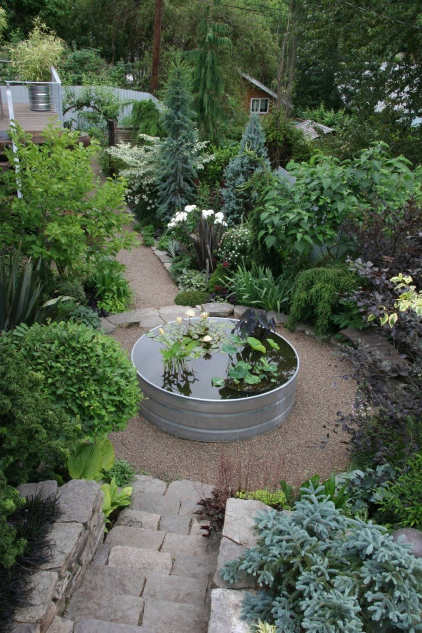 Outdoor Garden With Circular Galvanized Tub Converted Into A Water Feature.