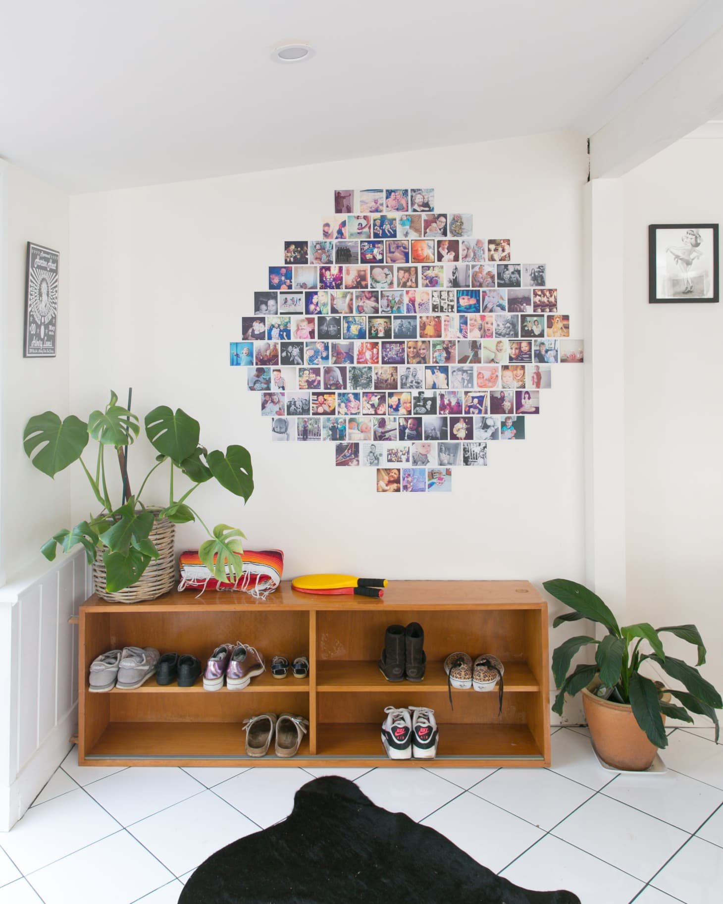 Instagram photo gallery wall and shoe rack