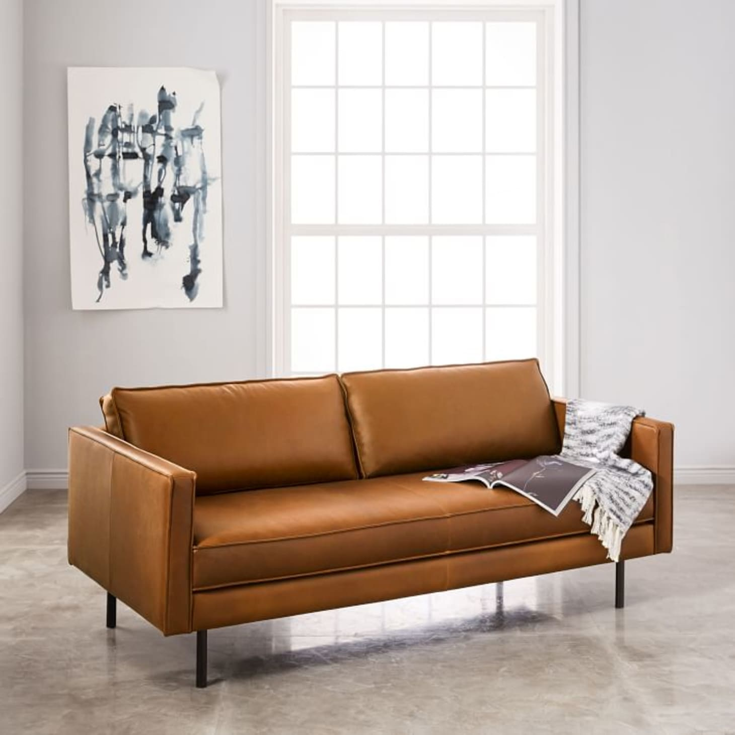 Tan Leather Sofa Trend - Caramel Leather Sofa | Apartment Therapy