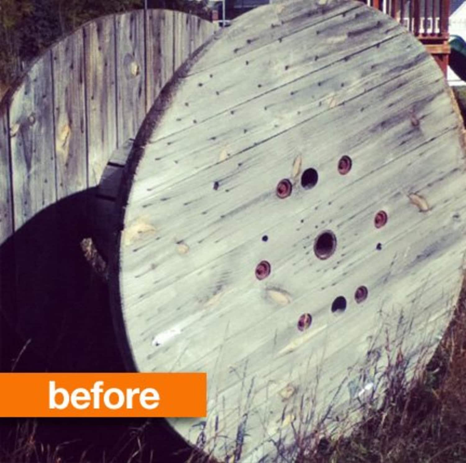 Before & After: A Wooden Spool Gets Really Cool