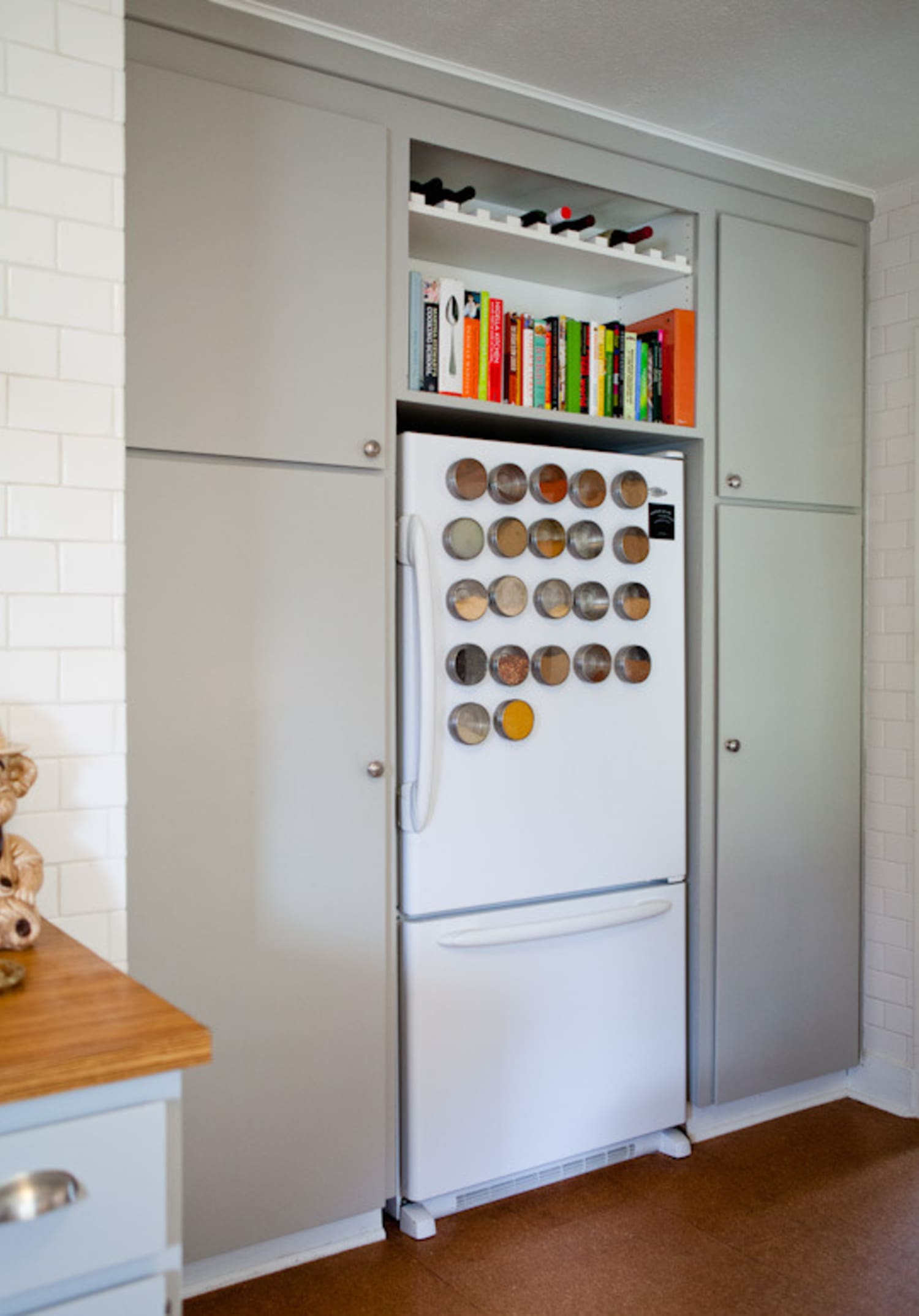 26ef98a2df 10 Magnetic Products that Will Make Life in the Kitchen (Especially a Small  One) Easier. by Carrie McBride. Magnetic spice racks on a refrigerator ...