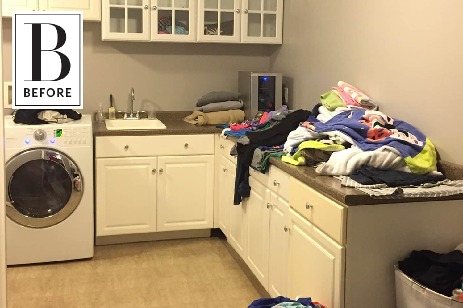 Before & After: A $200 Makeover Adds Color and Cheer to a Laundry Room