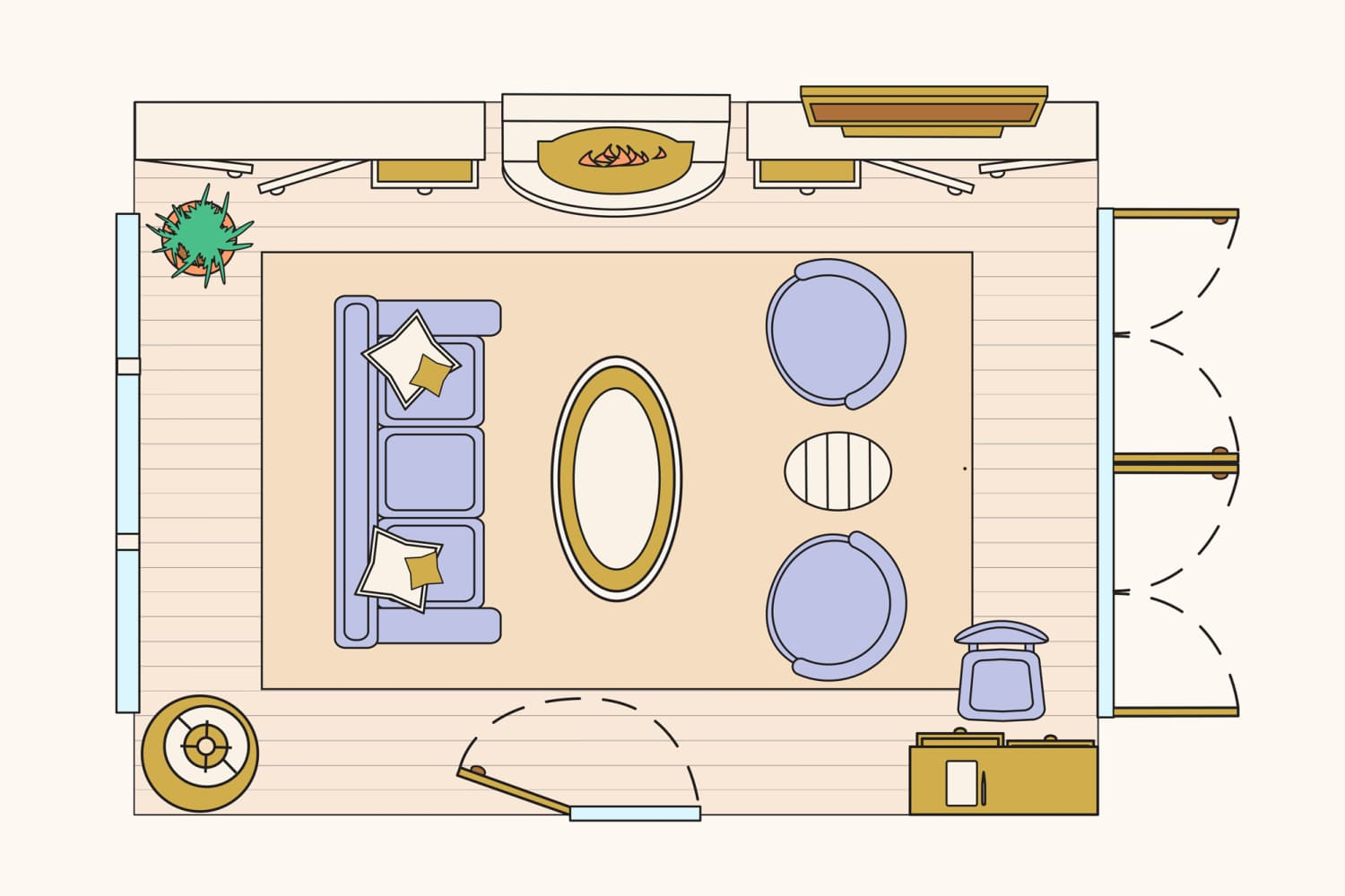 How To Lay Out A Kitchen Floor Plan: 10 Living Room Layouts To Try: Sample Floorplans