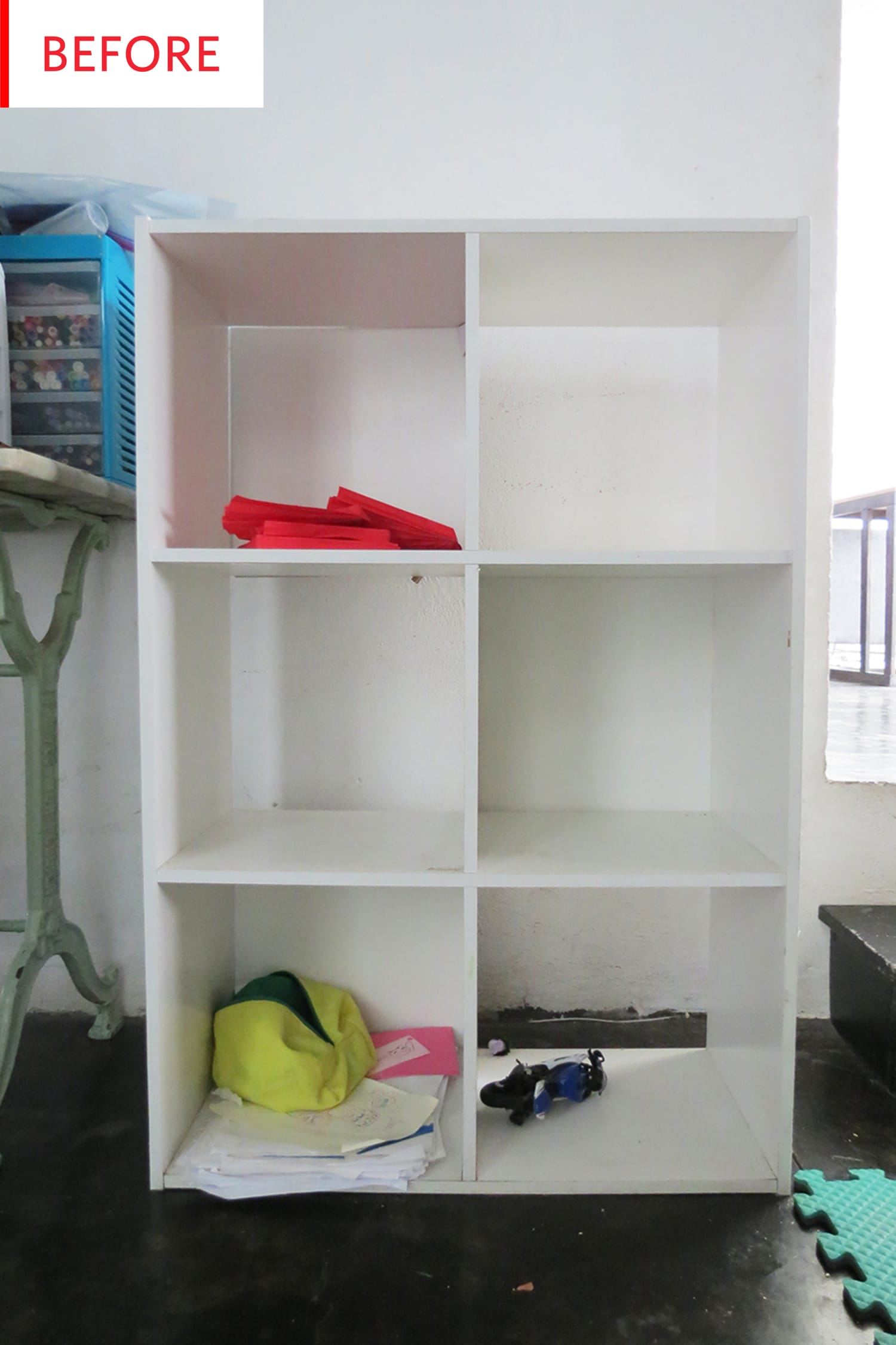 Before and After: A Major Twist on a Plain Jane Cube Shelving Unit