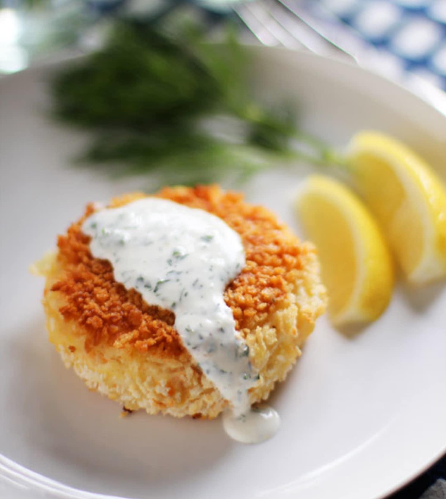 Salmon Cakes: Recipe: Smoked Salmon Potato Cakes With Herb Crème Fraîche