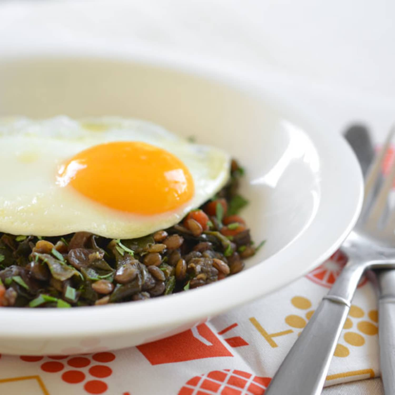Weeknight Recipe Braised Lentils And Chard Topped With An
