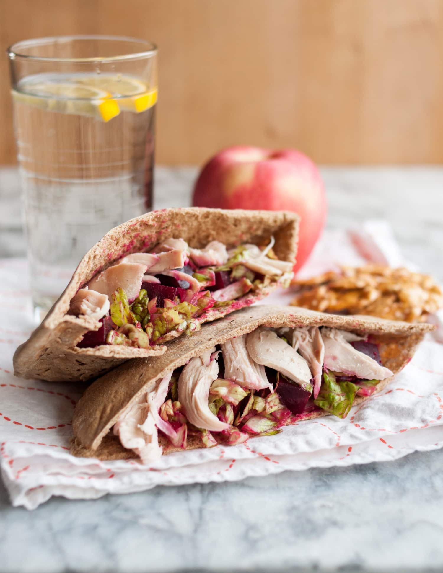 Recipe Pita Pockets With Crunchy Romaine Roasted Beets Chicken Amp Manchego Cheese Kitchn