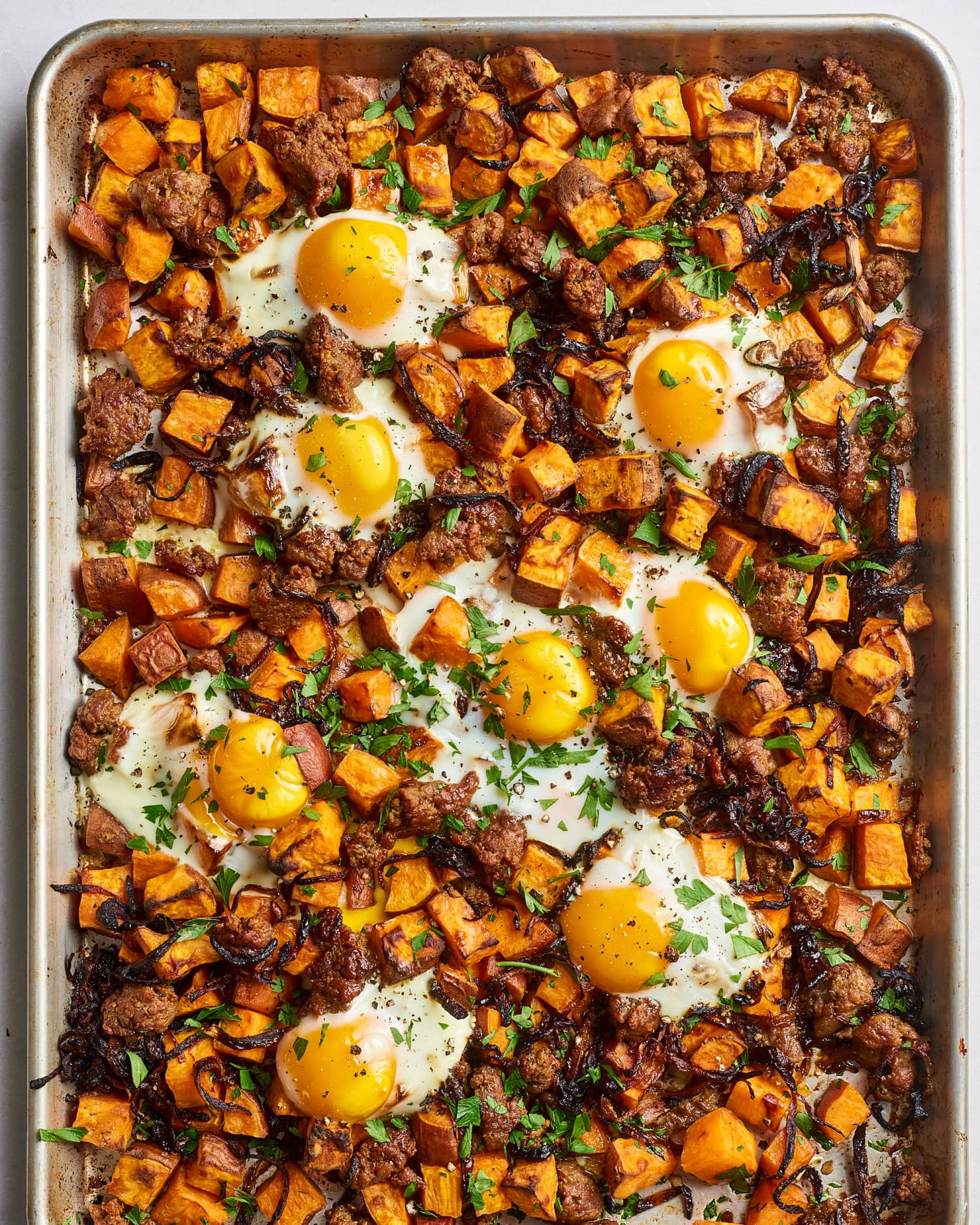 Recipe: Sweet Potato Hash With Sausage & Eggs