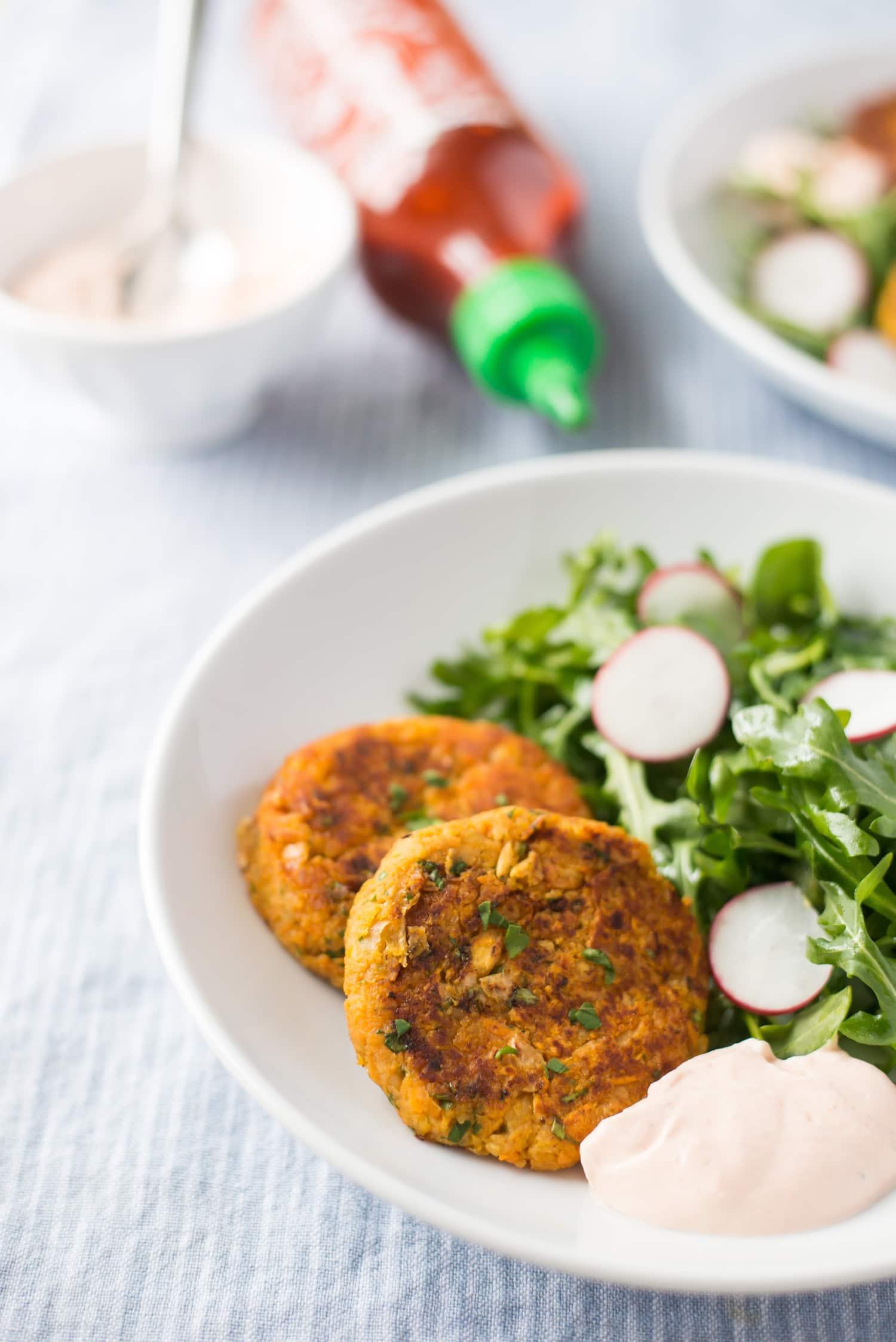 Recipe: Sweet Potato-Chickpea Patties with Sriracha-Yogurt Dip