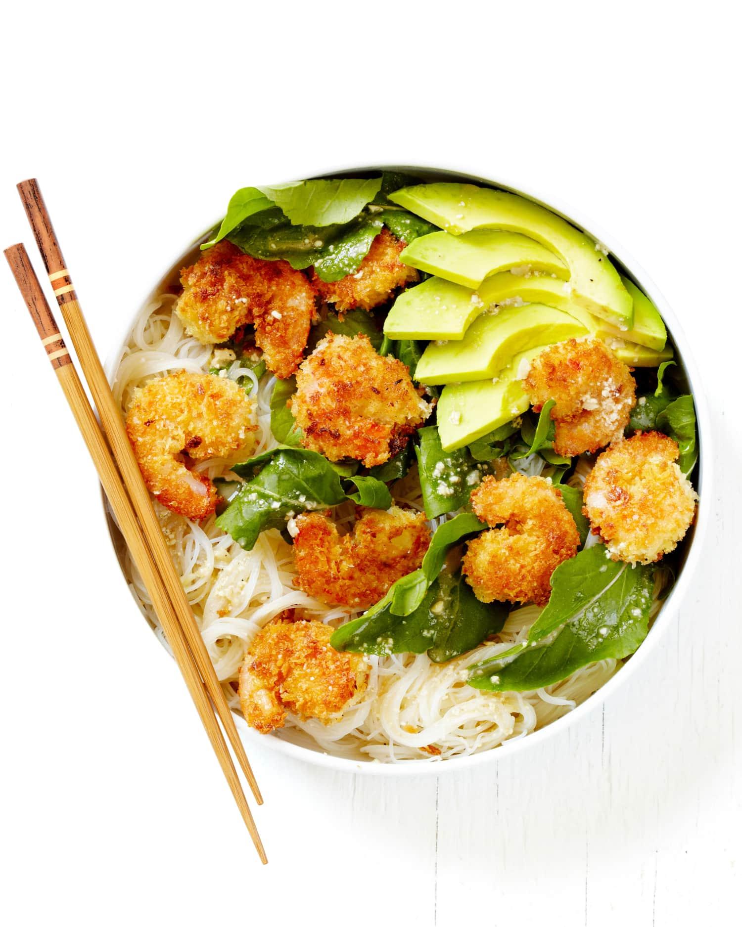 Recipe: Caesar Shrimp and Avocado Noodle Bowls