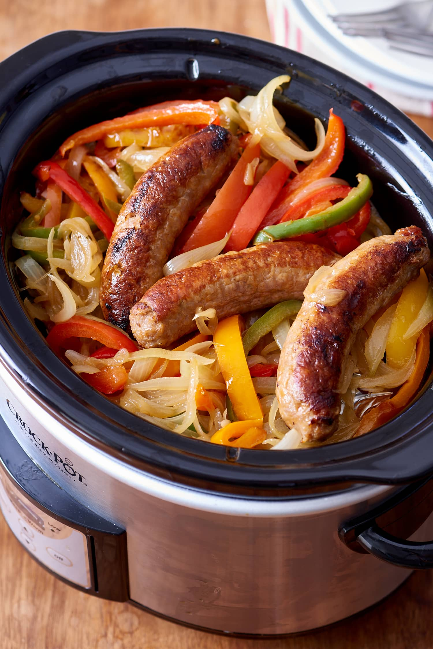 Recipe: Slow Cooker Sausages with Peppers and Onions