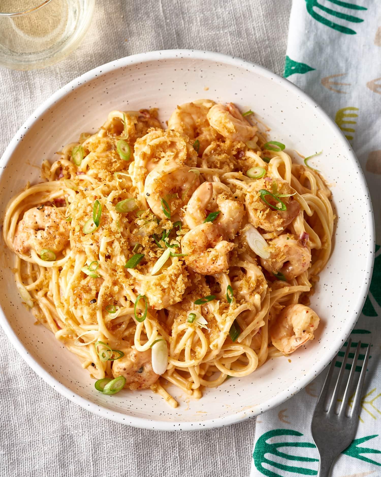This Shrimp Pasta with Creamy Mozzarella Sauce Is Dreamy