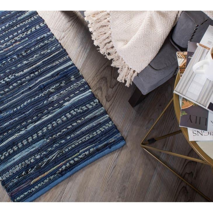 产品图片:DII回收面料条纹手工抹布地毯,2'x 3'