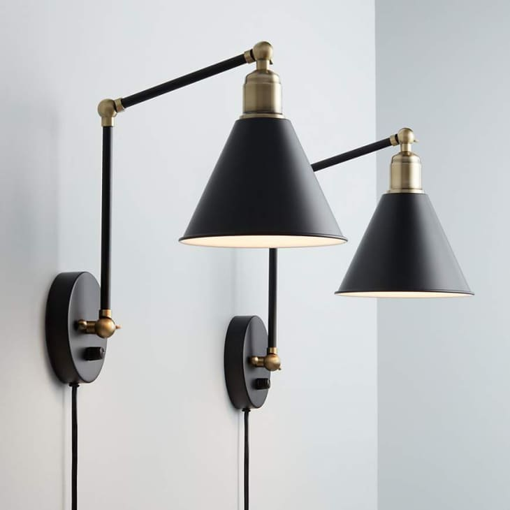 Product Image: Sayner Black and Antique Brass Swing Arm Wall Lamp, Set of 2 at Lamps Plus