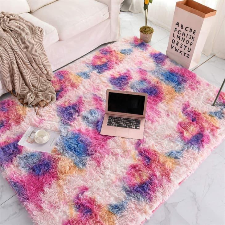 产品图片:Frates Shag Pink and Purple Area Rug, 5' x 8'
