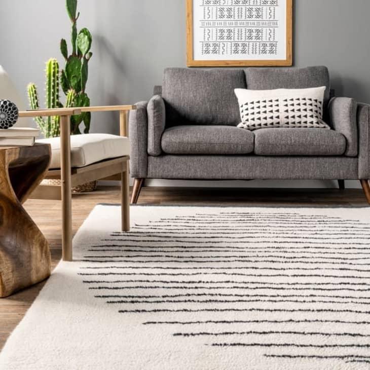 产品图片:象牙细条纹日落羊毛可水洗区域地毯,3' x 5'