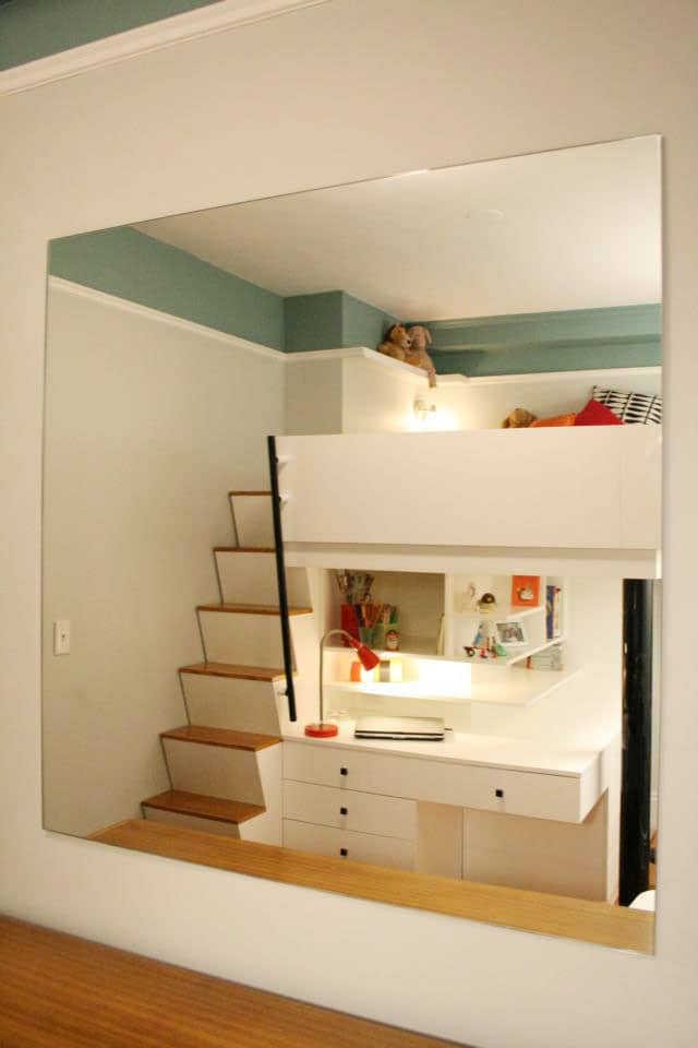 Before after small city bedroom to custom lofted bed - Small beds for small rooms ...