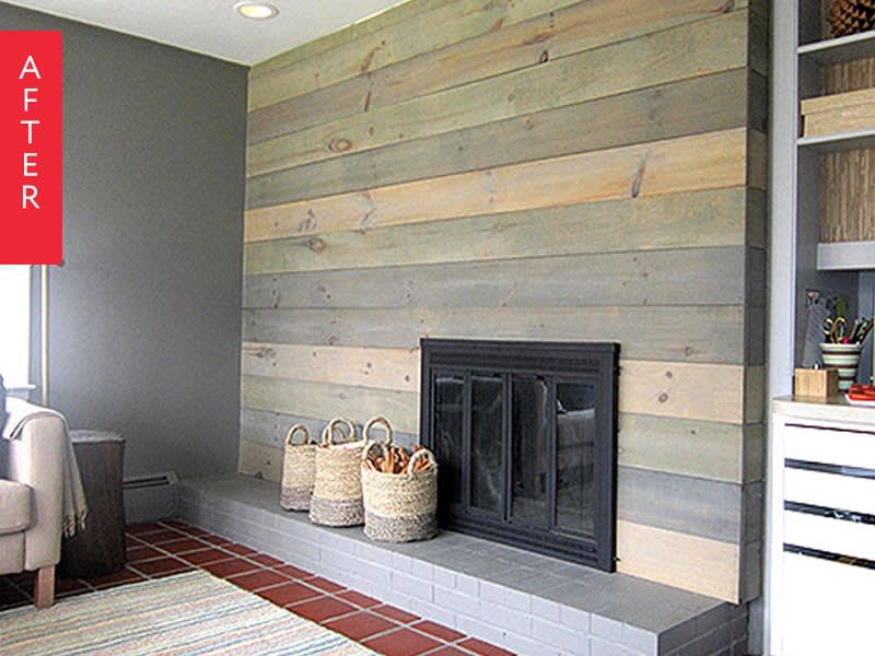 Before after 10 dramatic fireplace makeovers - Floor to ceiling brick fireplace makeover ...