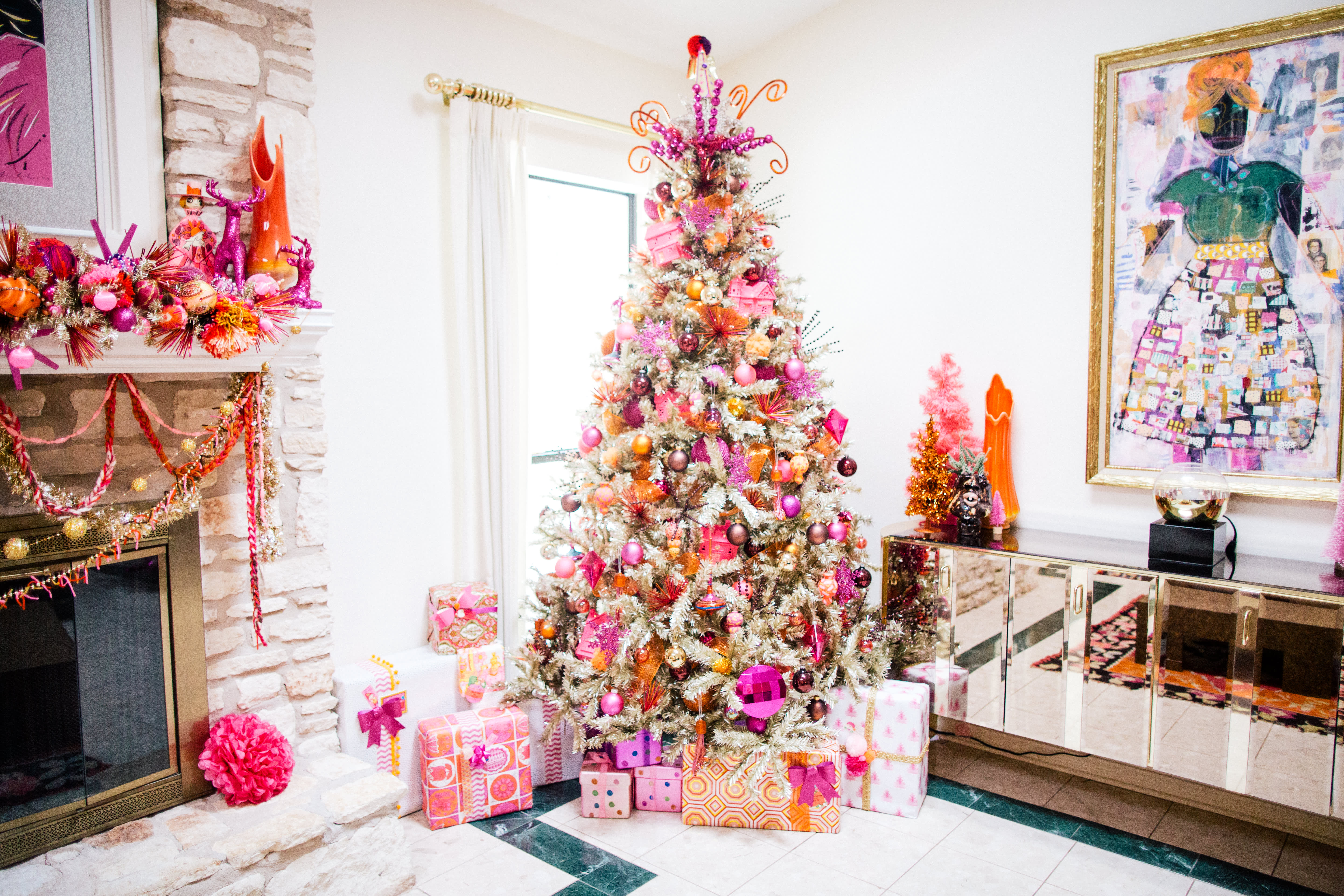 House Tour: A Home With 100 Colorful Christmas Trees
