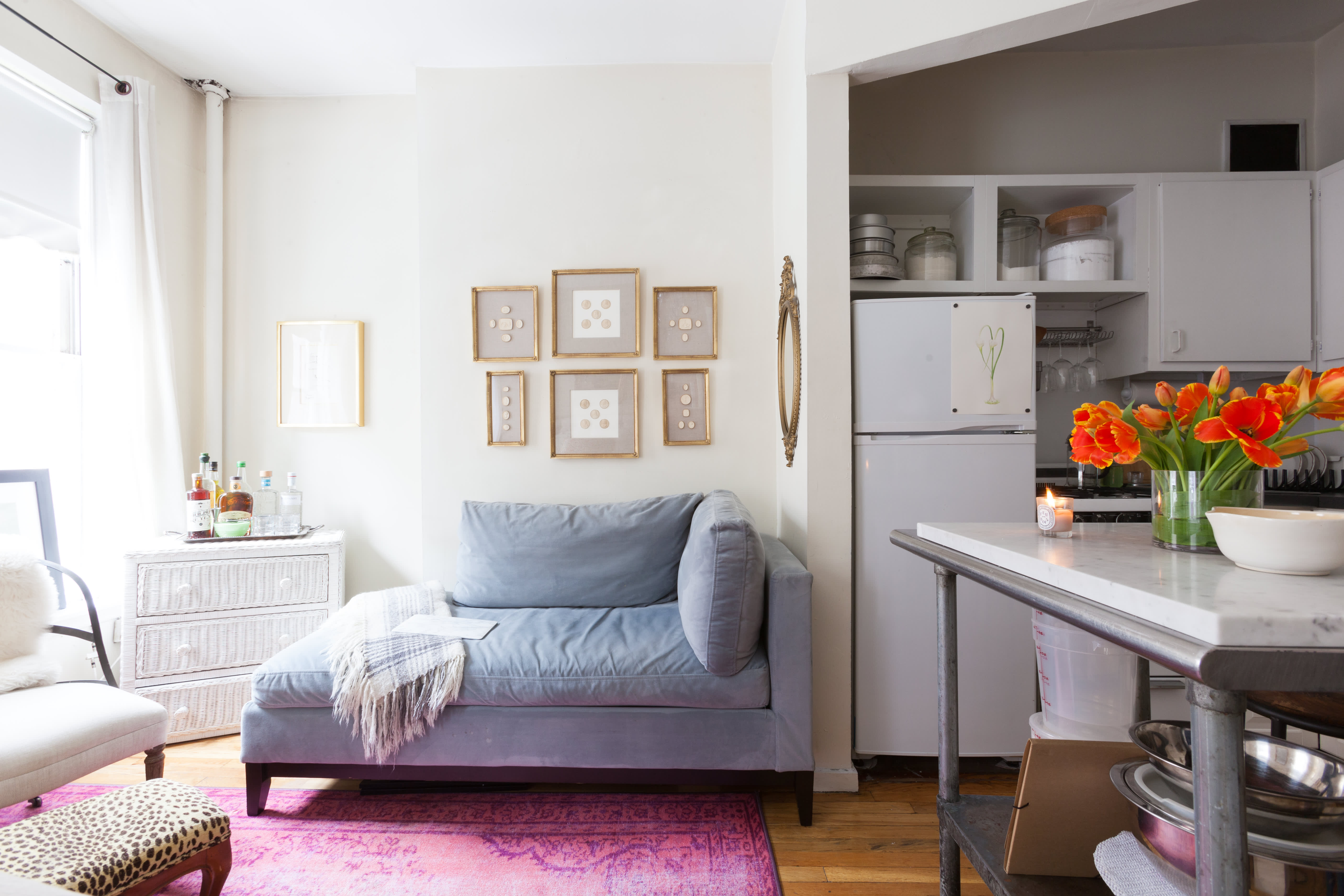 House tour small but sweet 190 square foot nyc studio - Small couch for studio ...
