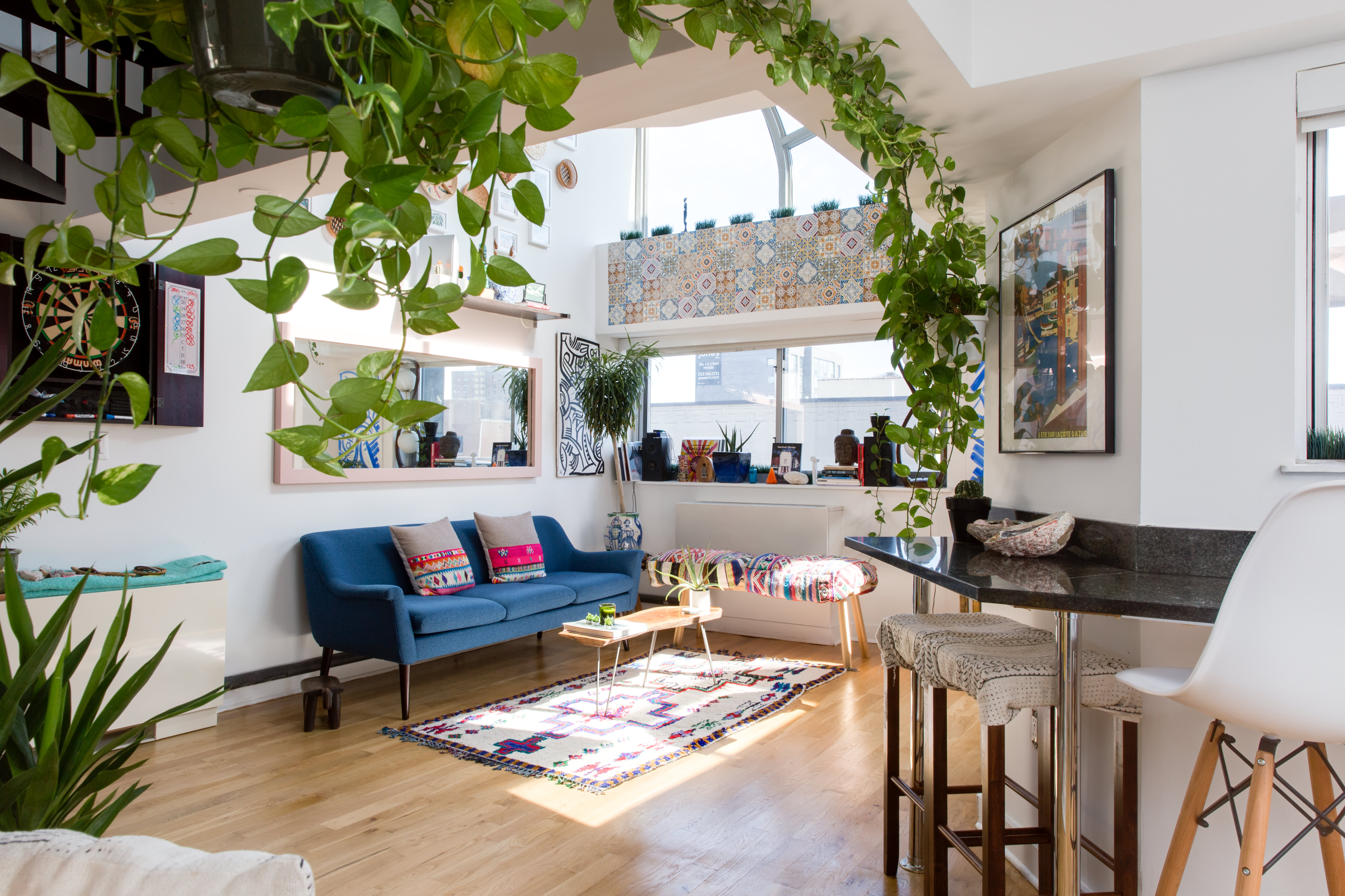 House Tour: A Sunny, Plant-Filled Manhattan Loft | Apartment ... on bathroom filled with plants, bedroom filled with plants, house full of plants, house books,