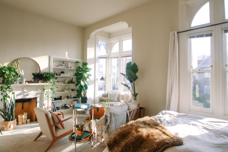 Plant Filled Simple Chic Studio Apartment Decor Photos ...