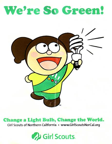 cute illustration of girl scout holding compact fluorescent light bulb