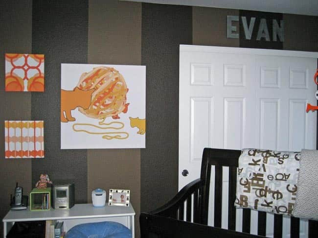 Nursery Tour: Evan's Brown and Blue with Pops of Orange Room: gallery slide thumbnail 3