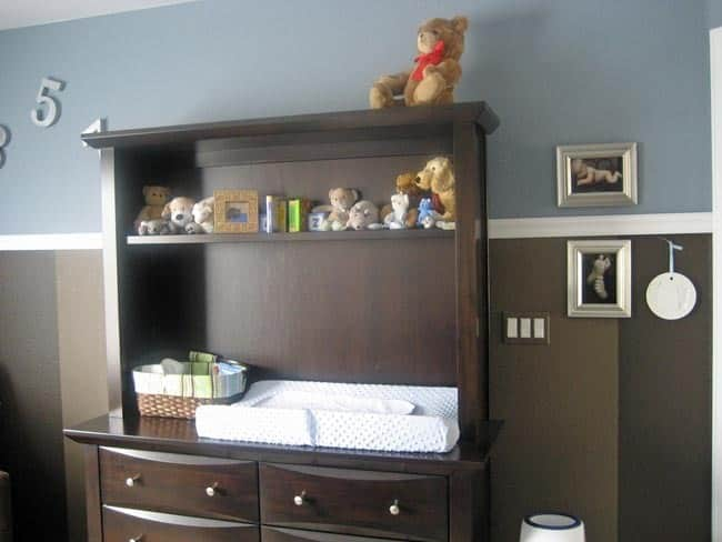 Nursery Tour: Evan's Brown and Blue with Pops of Orange Room: gallery slide thumbnail 2