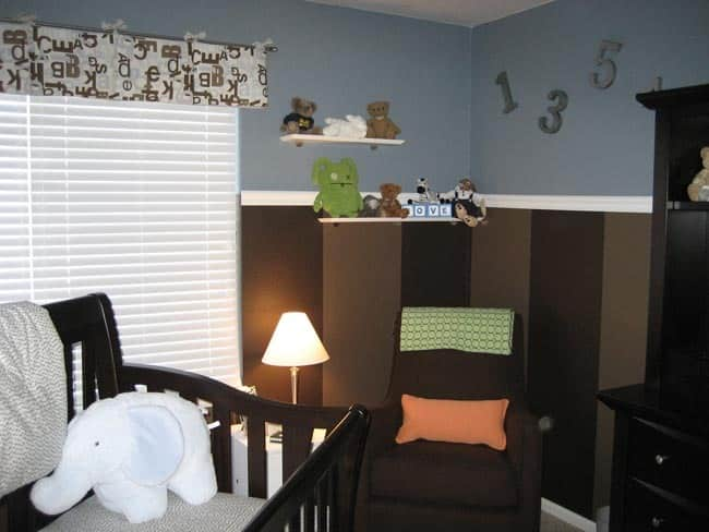 Nursery Tour: Evan's Brown and Blue with Pops of Orange Room: gallery slide thumbnail 1
