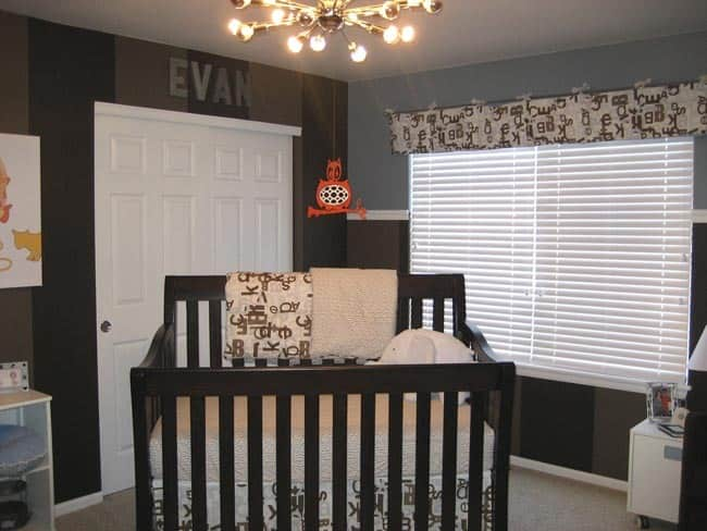 Nursery Tour: Evan's Brown and Blue with Pops of Orange Room: gallery slide thumbnail 4