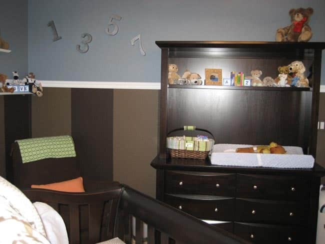Nursery Tour: Evan's Brown and Blue with Pops of Orange Room: gallery slide thumbnail 7