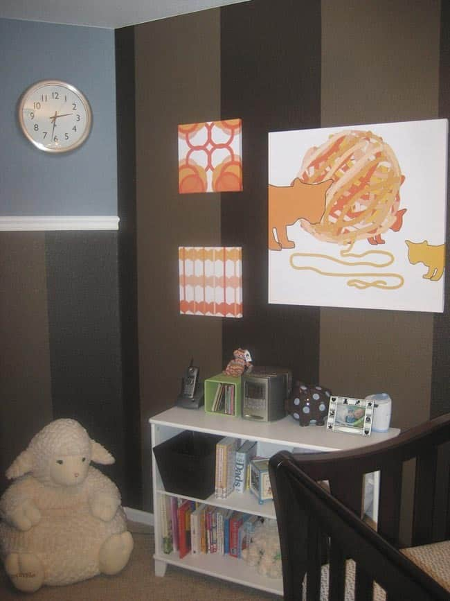 Nursery Tour: Evan's Brown and Blue with Pops of Orange Room: gallery slide thumbnail 5