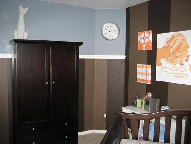 Nursery Tour: Evan's Brown and Blue with Pops of Orange Room: gallery slide thumbnail 6