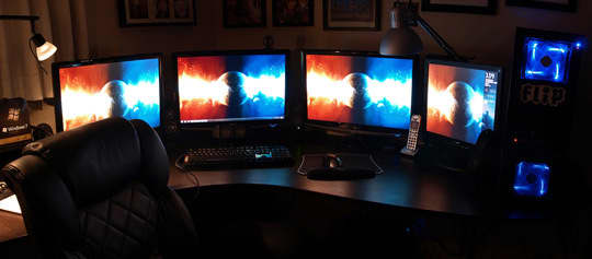 A Home Office With A Quartet of Monitors: gallery slide thumbnail 3