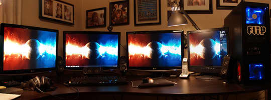 A Home Office With A Quartet of Monitors: gallery slide thumbnail 1