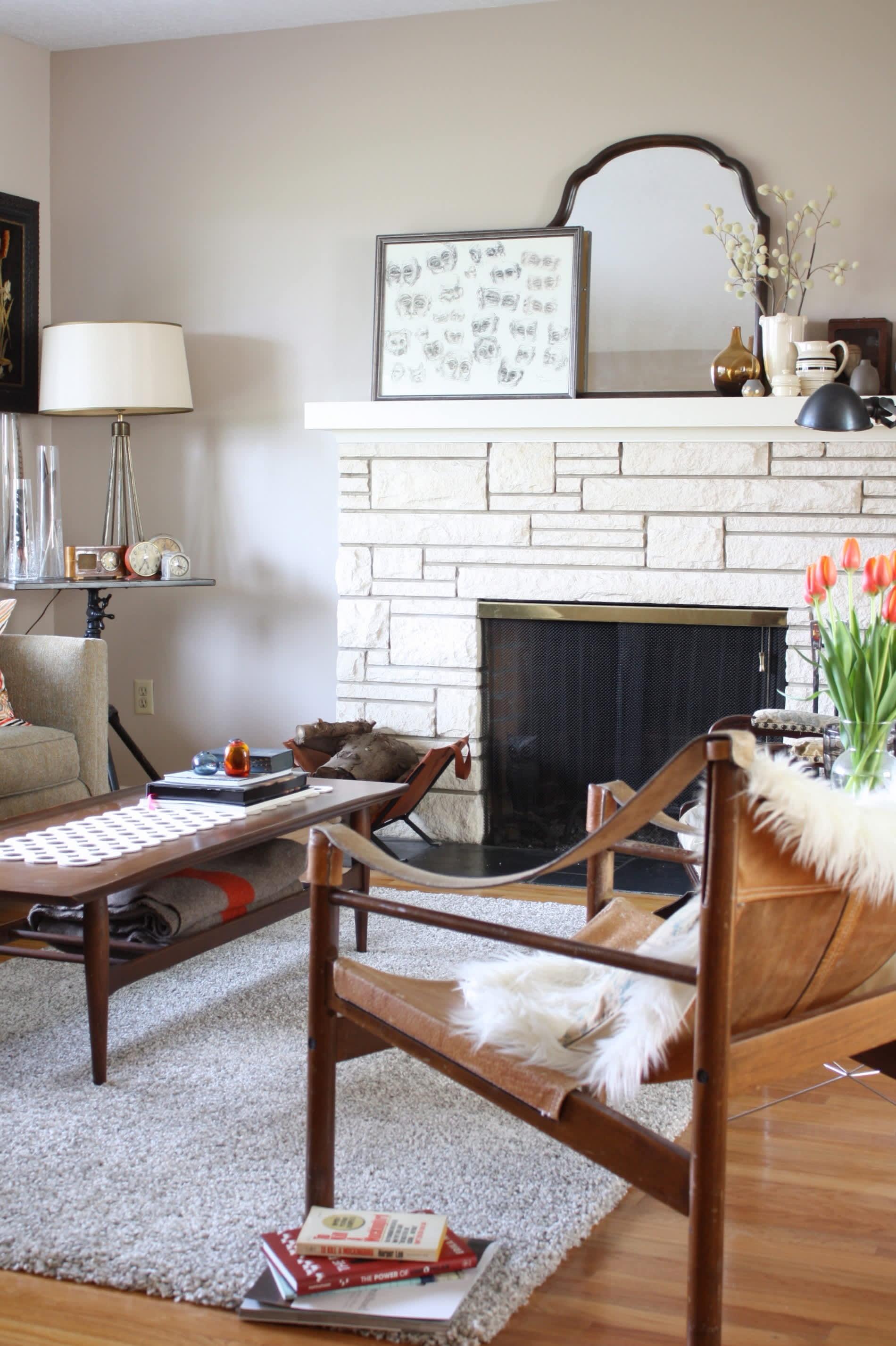 living room fireplace safari chair