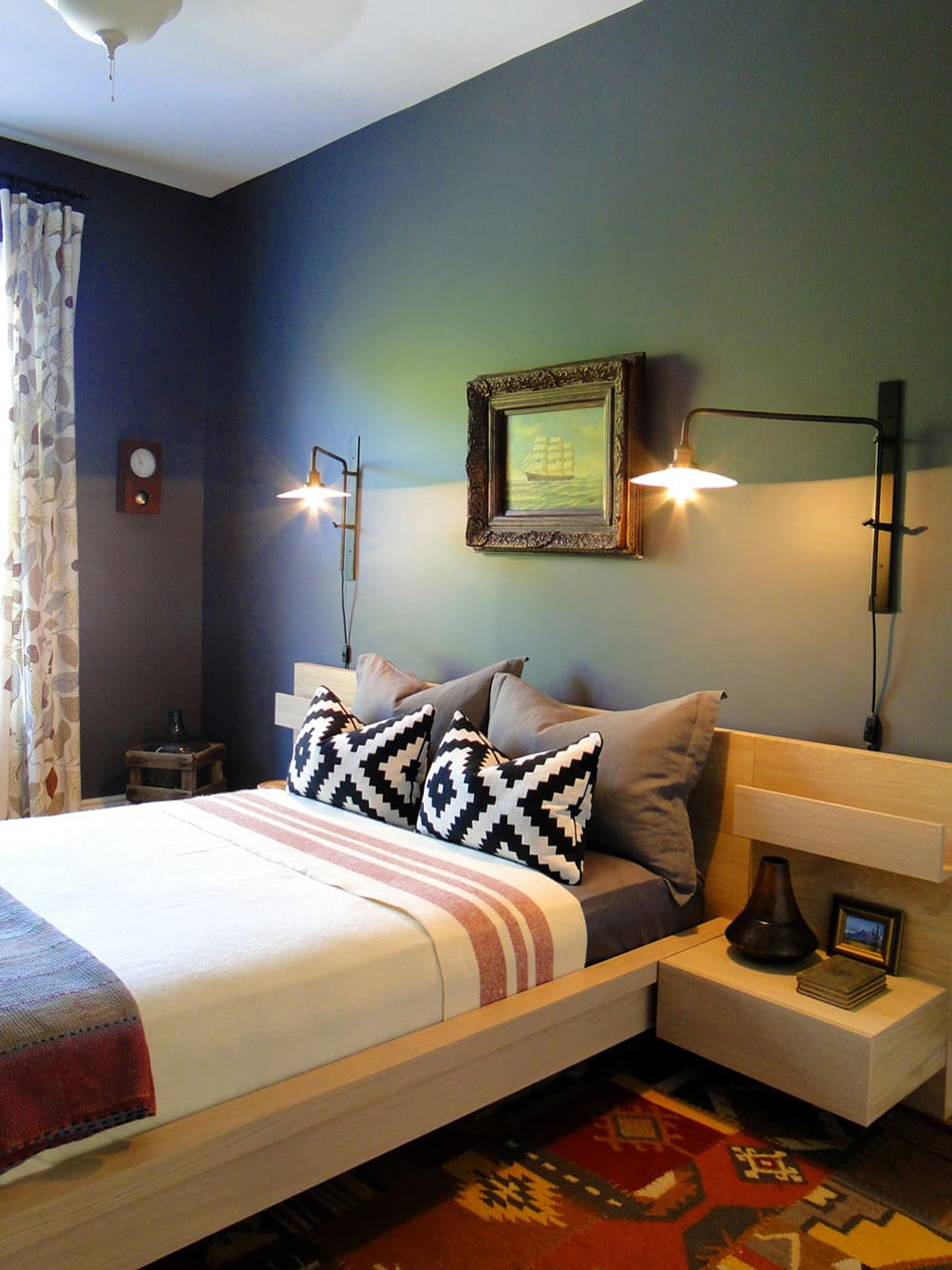 bedroom sconces dark walls