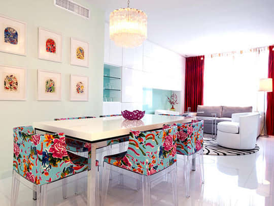 Colorful Floral Dining Chairs: gallery slide thumbnail 4