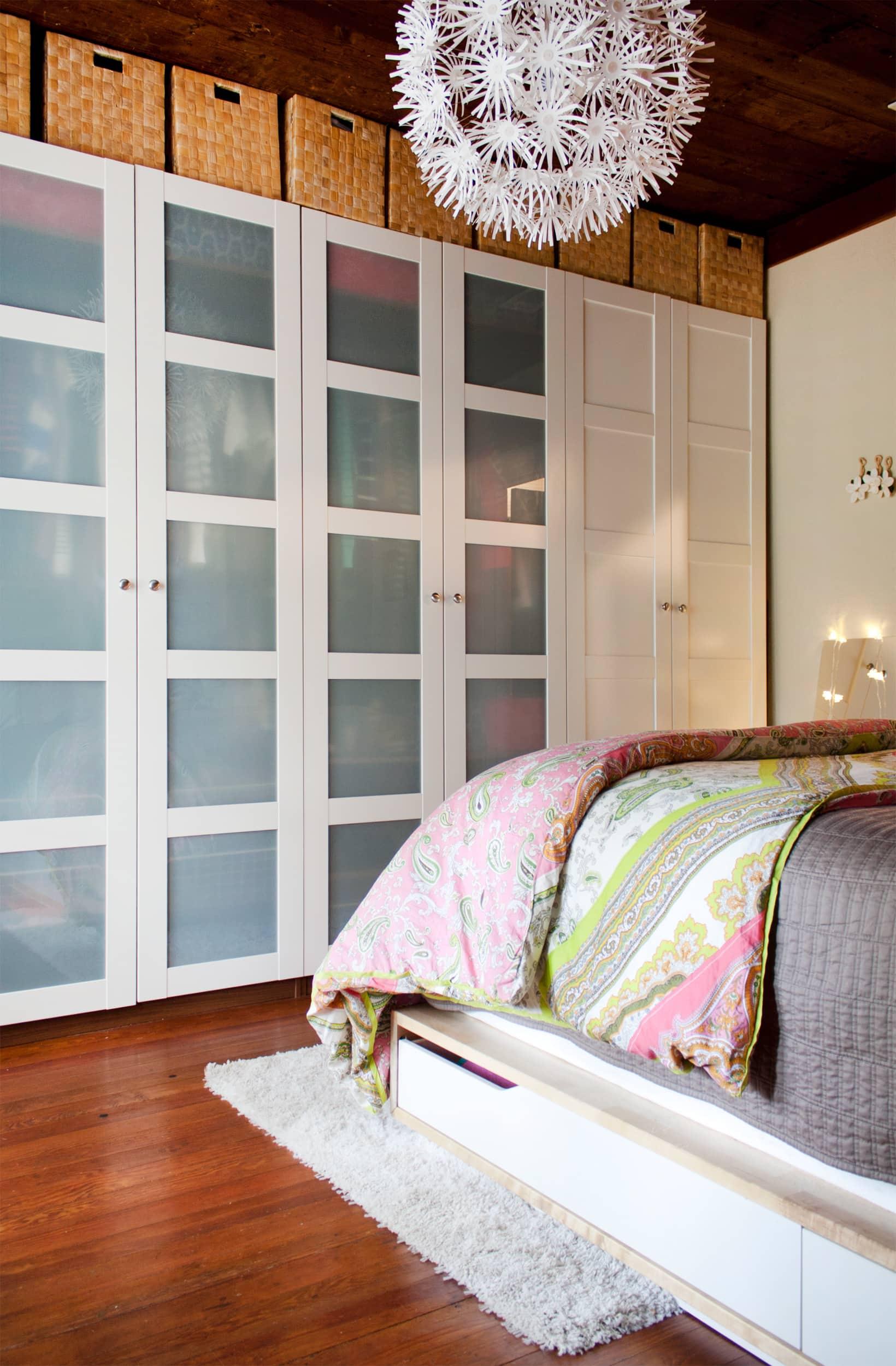 bedroom IKEA wardrobe storage with baskets