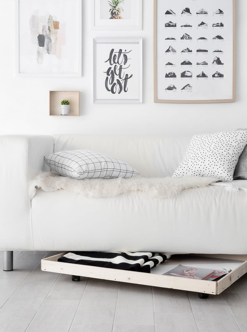 9 Ways To Add Storage Using The Area Under Your Sofa Apartment Therapy