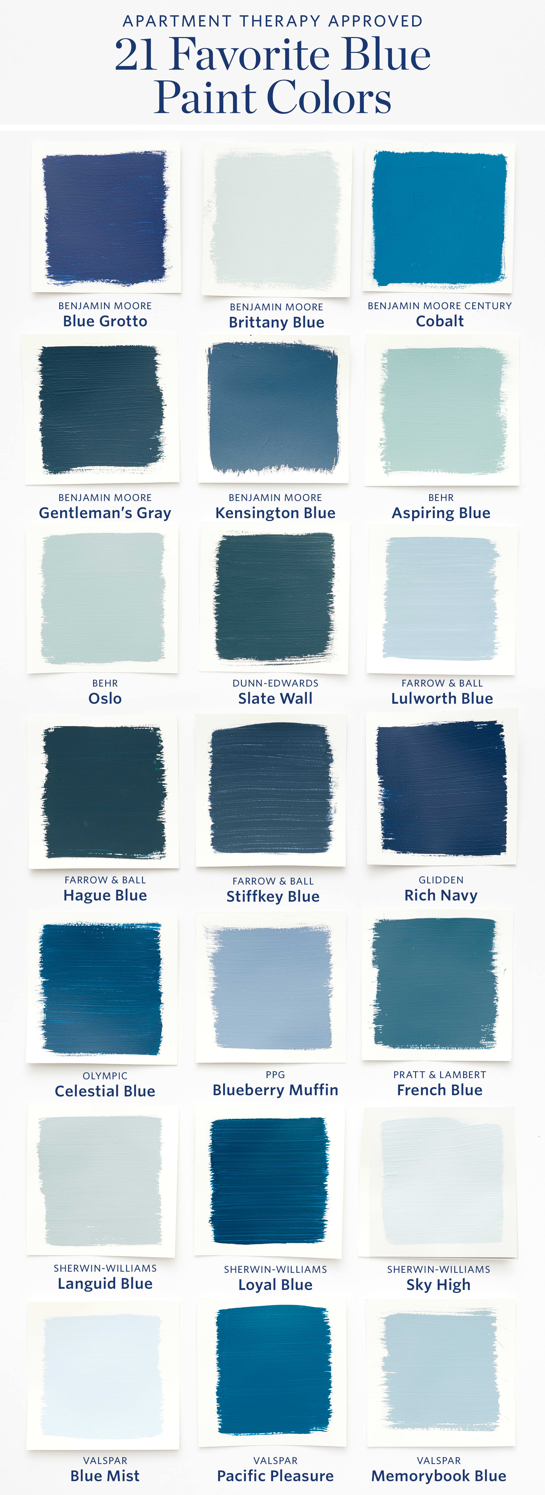 color cheat sheet the best blue paint colors apartment therapy. Black Bedroom Furniture Sets. Home Design Ideas