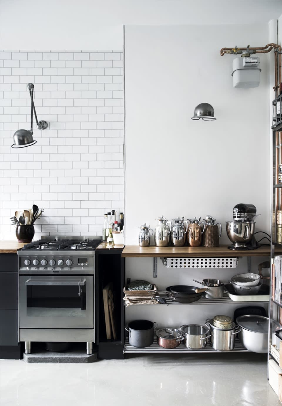 Kitchens Without Upper Cabinets: Should You Go Without? | Apartment on kitchens without top cabinets, kitchens with shelving but no cabinets, kitchens with wood floors blue walls, kitchens with no top cabinets, kitchens with windows over base cabinets, kitchen tile backsplash with white cabinets, kitchens with low ceilings, kitchens with stone arch over stove, kitchens with no microwave, kitchens without upper cabinets ideas, kitchens with shelves instead of cupboards, small kitchen with no cabinets, adding upper cabinet to kitchen cabinets, kitchens with no sink, kitchens with no stove, kitchens with no wall cabinets, kitchens with no overhead cabinets, light upper dark lower kitchen cabinets, kitchens with no countertops, kitchens with upper shelves,