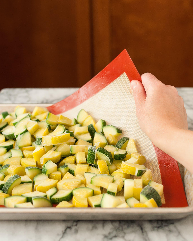 Frozen zucchini on a tray