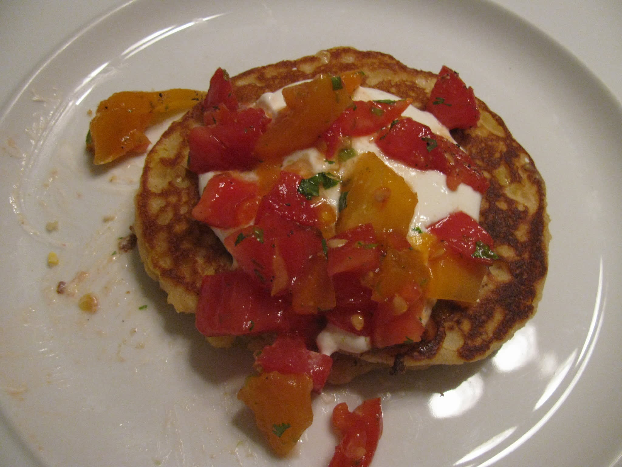 Sarah's Fresh Corn Pancakes with Salsa Cruda and Yogurt Quick Weeknight Meals Recipe Contest 2009: gallery image 1