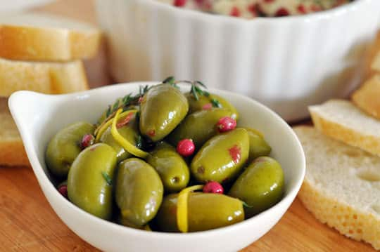 Appetizer Recipes: Pink Pepper Goat Cheese Spread & Olives: gallery image 2